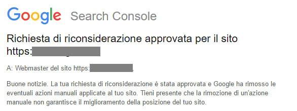 Riconsiderazione azione manuale Google